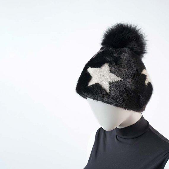 Cappello Visone Nero Stelle | Nicola Pelliccerie