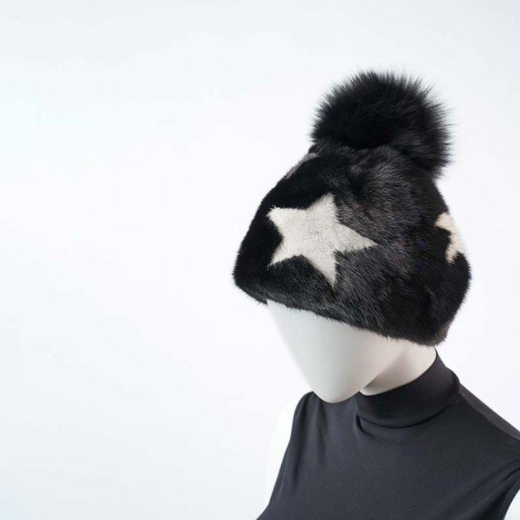 Cappello Visone Nero Stelle   Nicola Pelliccerie