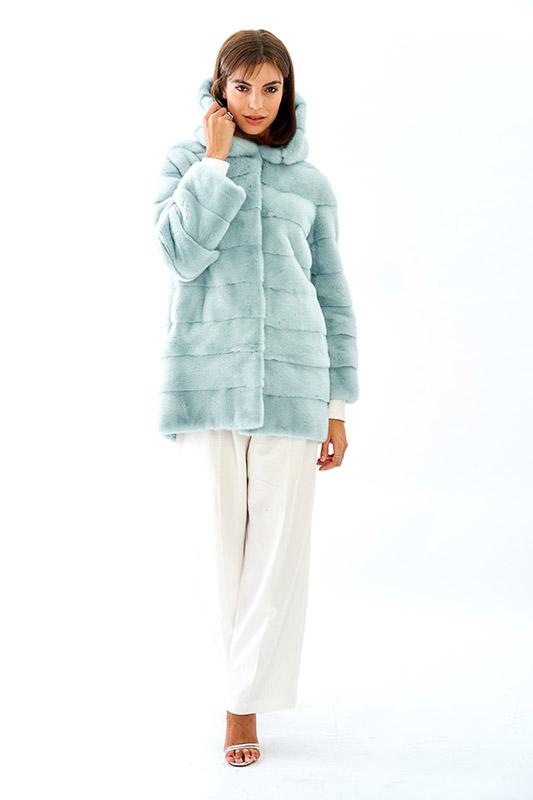 Cappottino giacchino staccabile zip visone corto azzurro | Nicola Pelliccerie