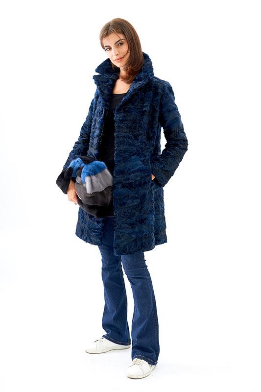 Cappotto astrakan blu leggero volpe borsa visone bluette | Nicola Pelliccerie