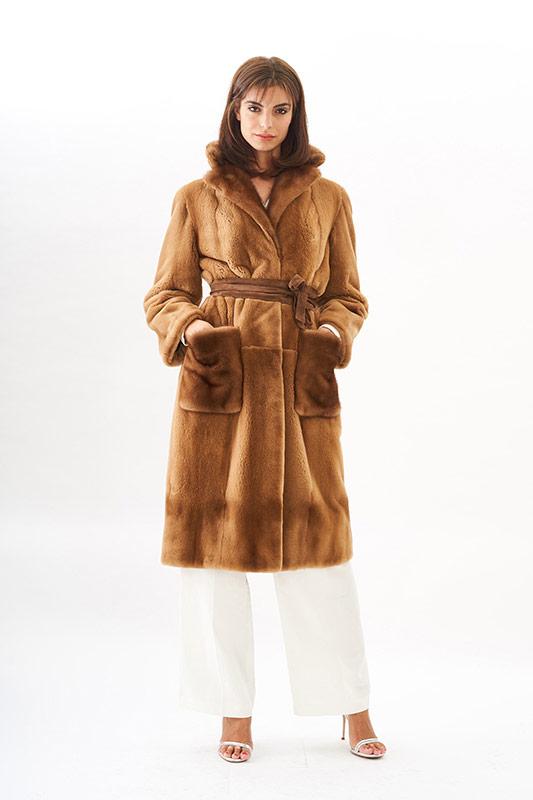 Cappotto visone rasato miele vestaglia | Nicola Pelliccerie