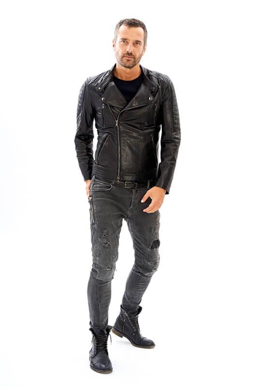 Chiodo Biker slim Pelle Uomo Moto su Misura Laboratorio | Nicola Pelliccerie