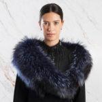 Collo pelliccia blu nero nastri blue fur collar | Nicola Pelliccerie