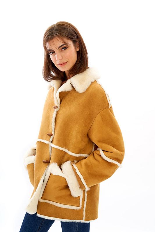 Giacca shearling pelliccia bianca oversize | Nicola Pelliccerie