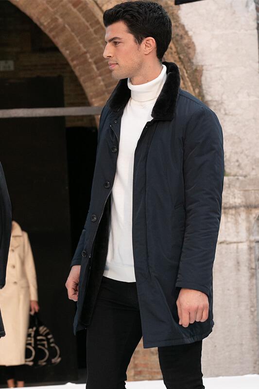 Cappotto Uomo Blu Montone Impermeabile Treviso | Nicola Pelliccerie