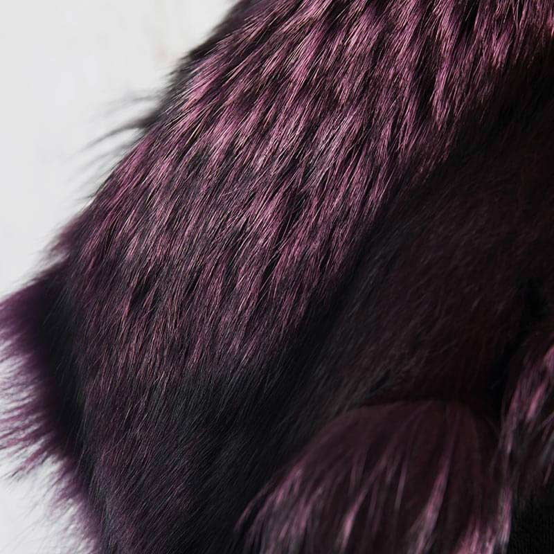 Sciarpa viola melanzana volpe nera | Nicola Pelliccerie