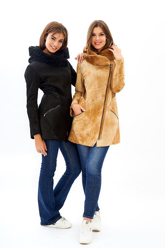 Shearling ragazza giacca leggero cappuccio nero beige | Nicola Pelliccerie