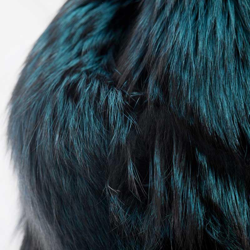 Volpe argentata verde ottanio blu collo pelliccia | Nicola Pelliccerie