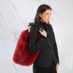 Borsa grande pelliccia a spalla volpe rossa con corno naturale | Nicola Pelliccerie