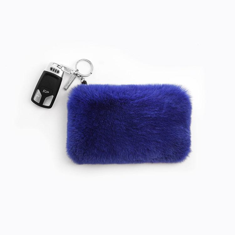 Busta portamonete pelle pelliccia blu portachiavi bluette | Nicola Pelliccerie