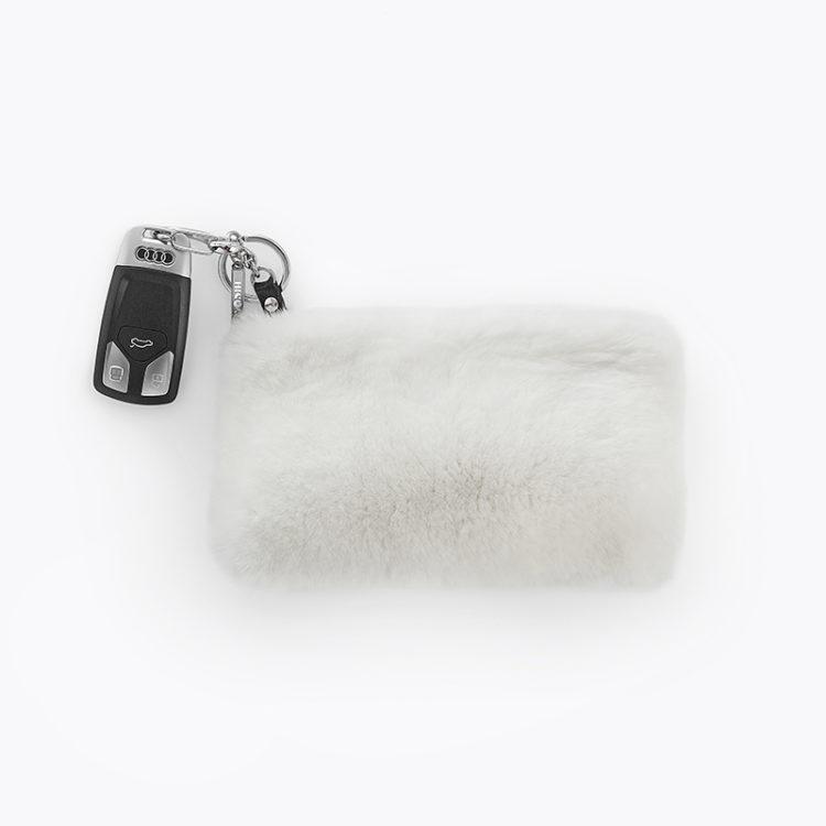 Bustina pelliccia pelle sposa bianca nera portagioie portamonete | Nicola Pelliccerie