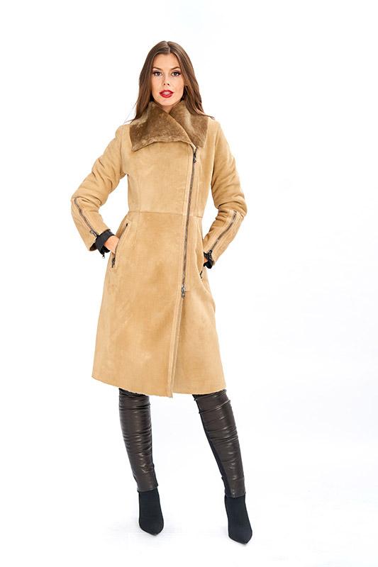 Cappotto shearling natural beige zip | Nicola Pelliccerie