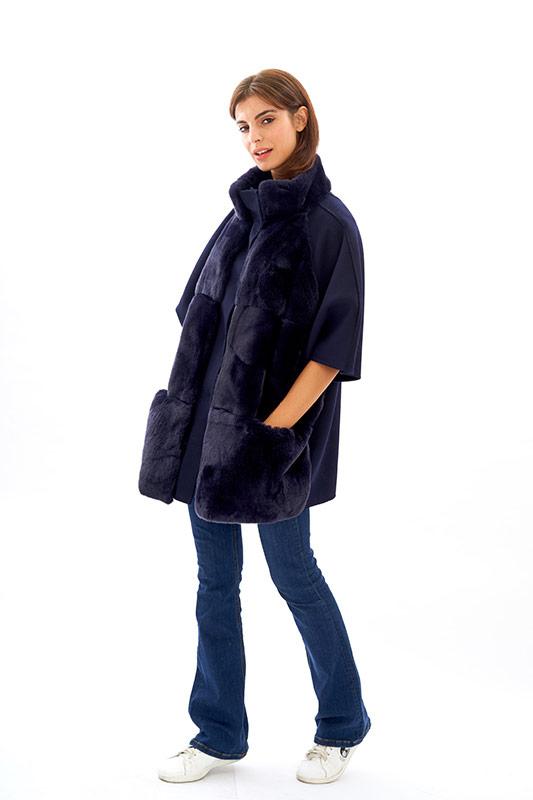 Cappotto lana blu rex lapin oversize | Nicola Pelliccerie