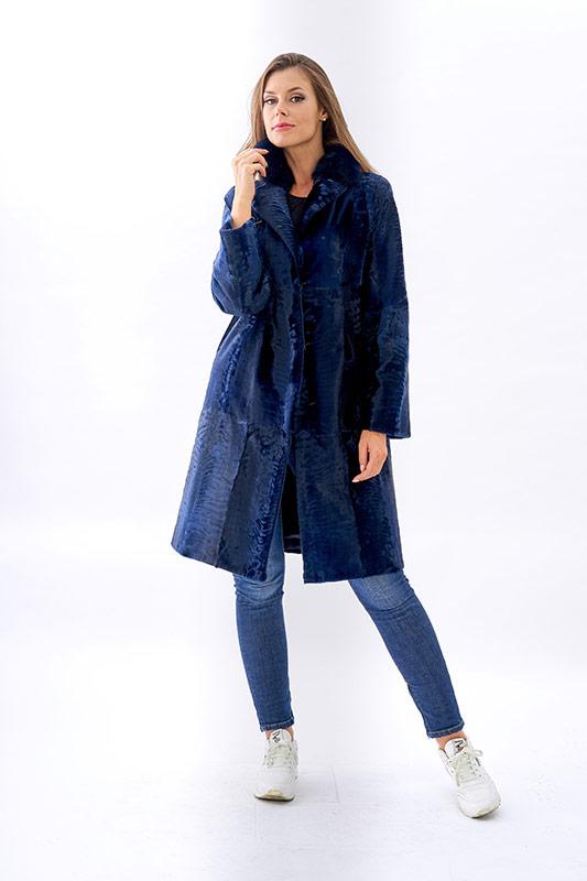 Cappotto persiano astrakan swakara blu | Nicola Pelliccerie