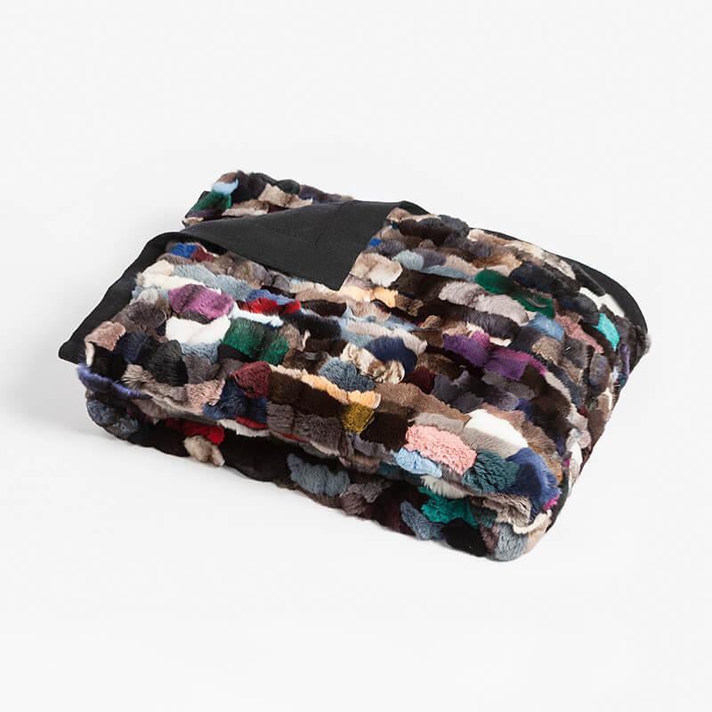 Coperta pelliccia cincilla matrimoniale colorata cachemire 240x130 cm plaid divano | Nicola Pelliccerie