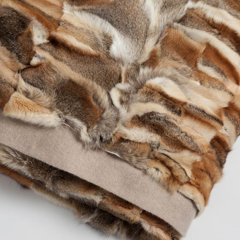 Coperta plaid divano pelliccia volpe naturale lana cachemire beige rossa melange | Nicola Pelliccerie