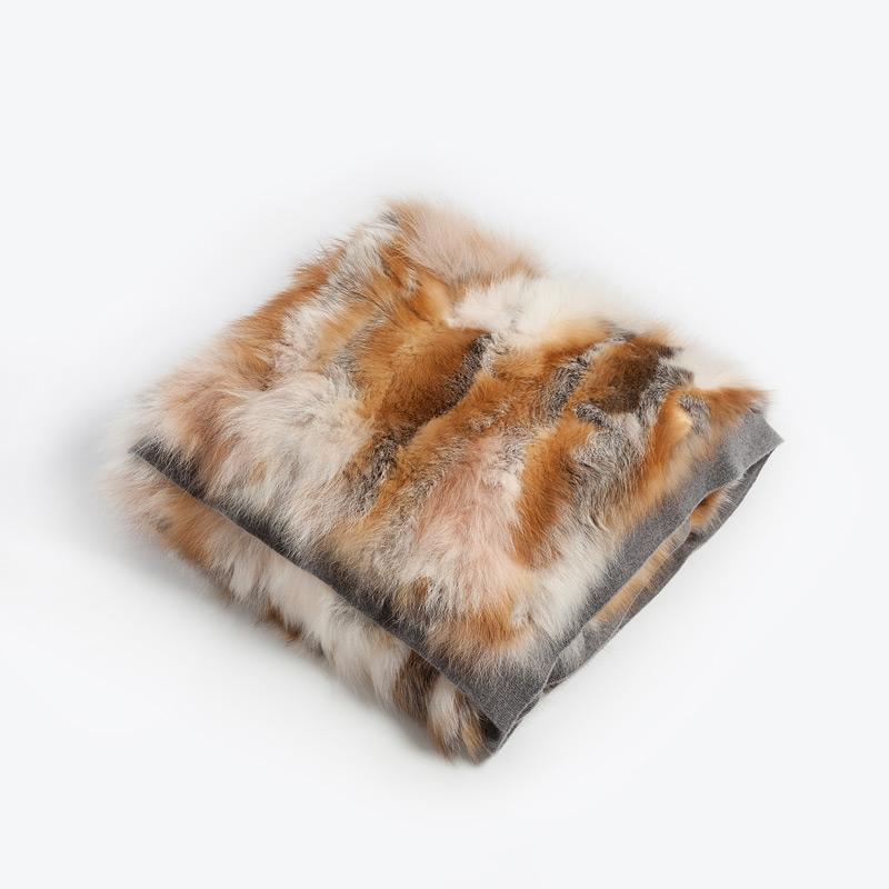 Coperta plaid divano volpe rossa bianca cachemire chalet | Nicola Pelliccerie