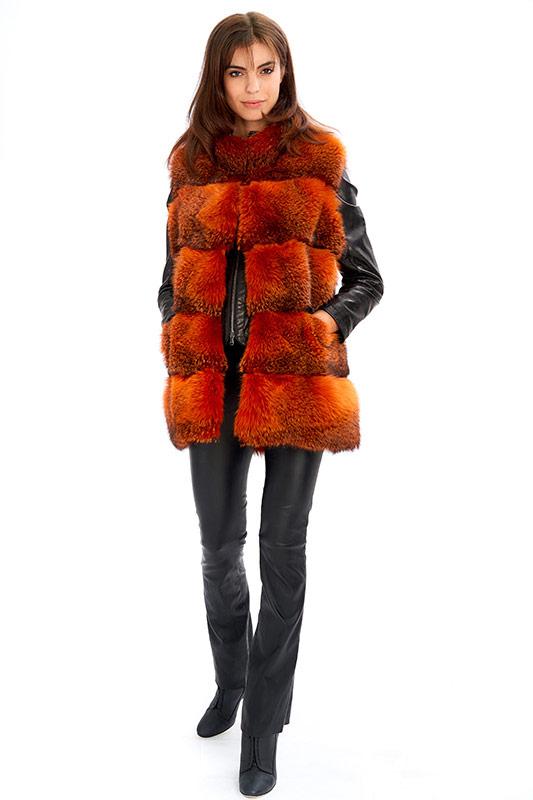 Gilet volpe arancione rossa smanicato | Nicola Pelliccerie