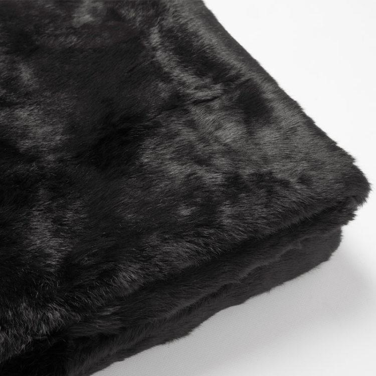 Plaid matrimoniale pelliccia lapin nero 110x170 cm lana letto naturale | Nicola Pelliccerie