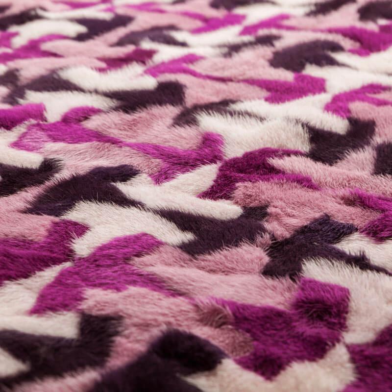 Plaid pelliccia fucsia viola bianca patcwork 140x135 cm | Nicola Pelliccerie