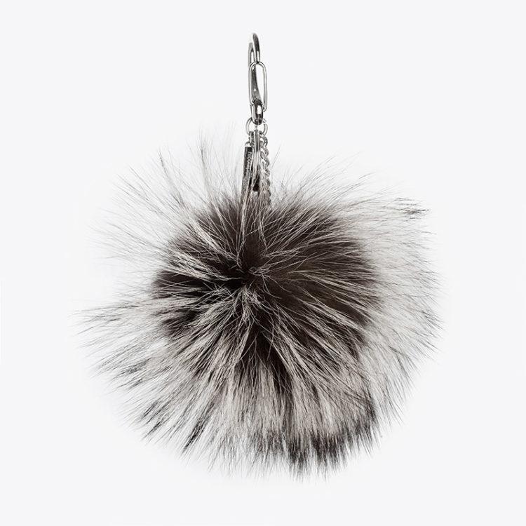 Portachiavi pelliccia pon-pon grigio nero bianco charm borsa | Nicola Pelliccerie