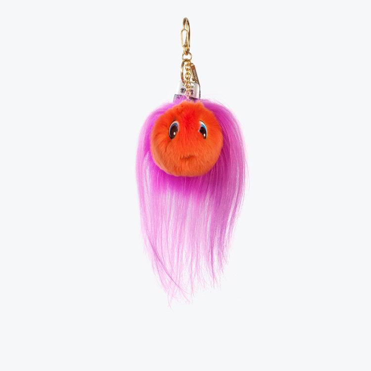 Portachiavi pelliccia pon-pon idea regalo charms arancione fucsia | Nicola Pelliccerie