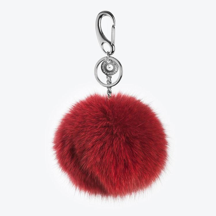 Portachiavi pelliccia volpe rosso pon-pon charms borsa | Nicola Pelliccerie
