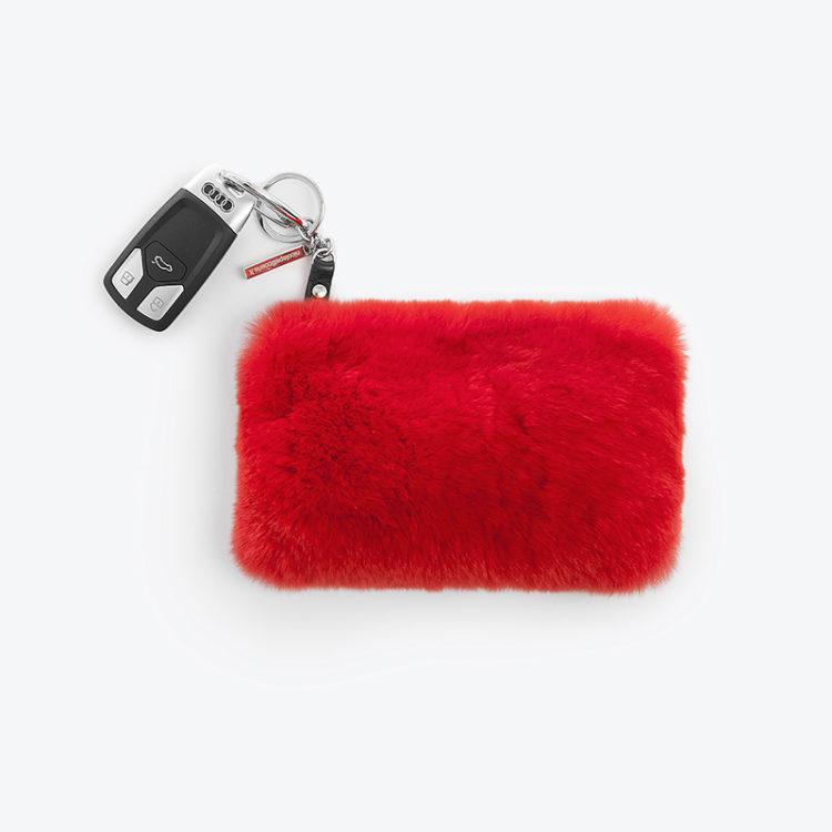 Portachiavi portafogli bustina pelliccia rosso valentino portamonete | Nicola Pelliccerie