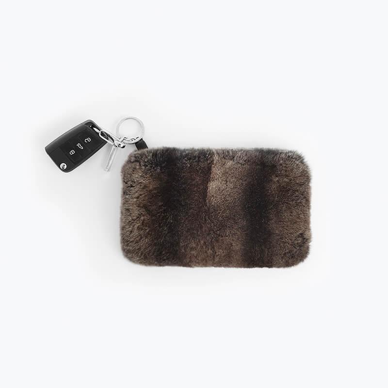 Portamonete pelle pelliccia marrone cuoio portachiavi uomo | Nicola Pelliccerie